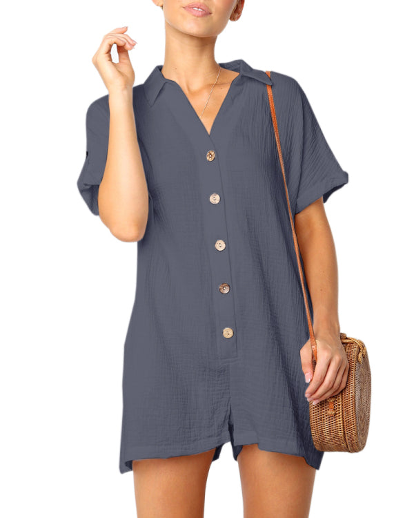 Micasahi Solid color Loose Short Sleeve Rompers ( Ship In 24 Hours )