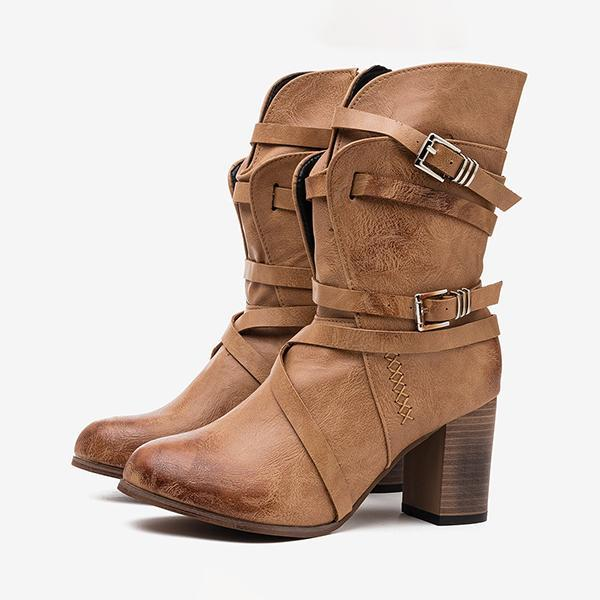 Micasahi Women Motorcycle Buckle Strappy Zipper High Heel Middle Boots