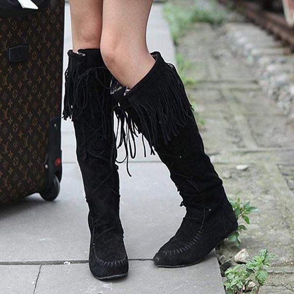 Micasahi Sexy Plain Lace-Up Round Toe Knee High Boots