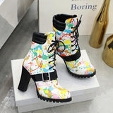 Micasahi Stylish Lace-Up Front Chunky Heel Round Toe Casual Boots