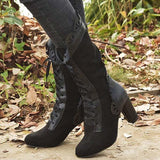 Micasahi Women Retro Suede Halloween Lace Up Mid Heel Boots