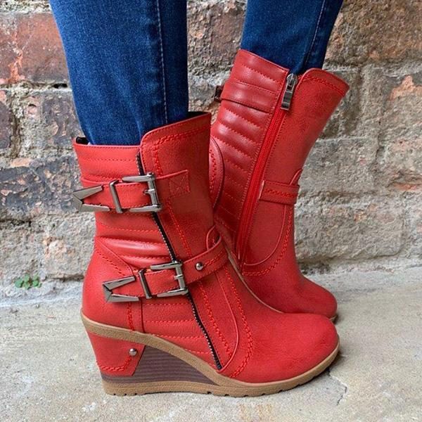 Micasahi Women Vintage Double Buckle Strap Wedge Boots