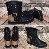 Micasahi Women Vintage Buckle Boots