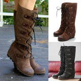 Micasahi Plain Round Toe Date Outdoor Knee High Flat Boots