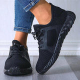 Women Sporty Mesh Mixed Colors Flat Heel Non-slip Breathable Sneakers