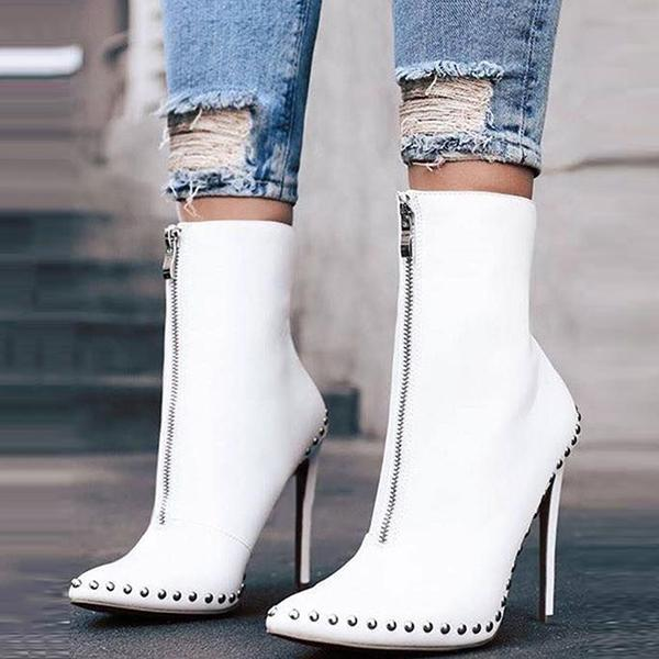 Micasahi Rivet Pointed Toe Ankle Boots