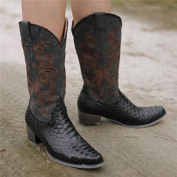 Micasahi Artificial Leather Embroidered Boots