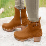 Micasahi Side Zipper Buckle Strap Clog Heel Ankle Boots