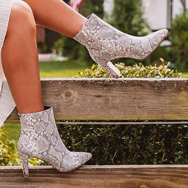 Micasahi Snakeskin Pointed Toe High Heel Ankle Boots