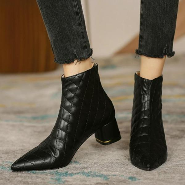 Micasahi Square Embossing Pointed Toe Block Heel Ankle Boots