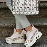 Micasahi Platform Lace-up Round Toe Flower Printing Sneakers