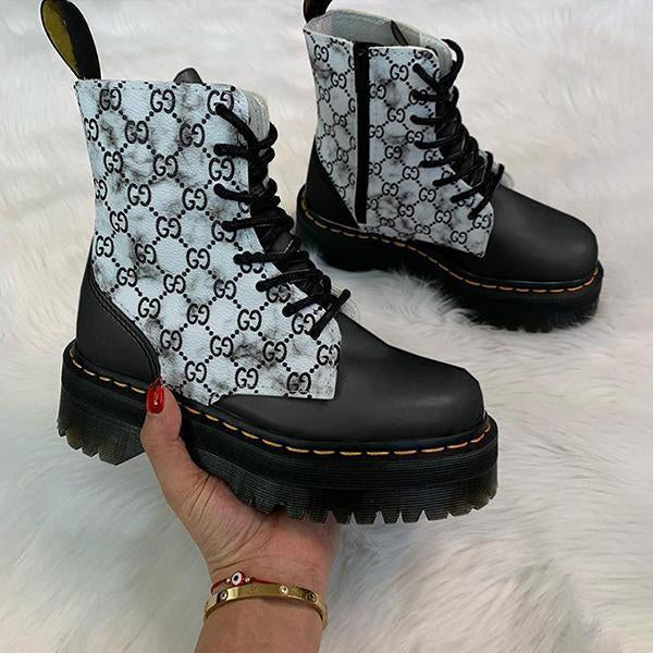 Micasahi Platform Boots Lace-up Side Zipper Letter Checked Pattern Boots