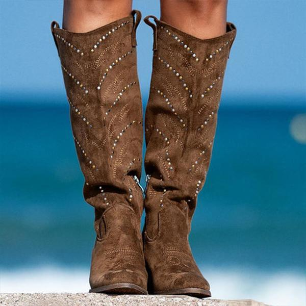 Micasahi Suede Rhinestone Fall Outdoor Boots