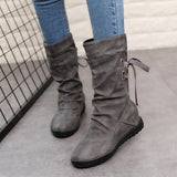 Micasahi Round Toe Casual Daily Shoes Lace Up Boots