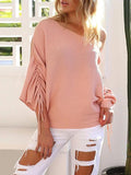 Micasahi 3/4 Sleeve Casual Off Shoulder Knitted Shift Sweater