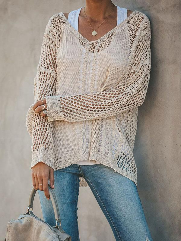 Micasahi Apricot Long Sleeve Crocheted Beach Plus Size Sweater