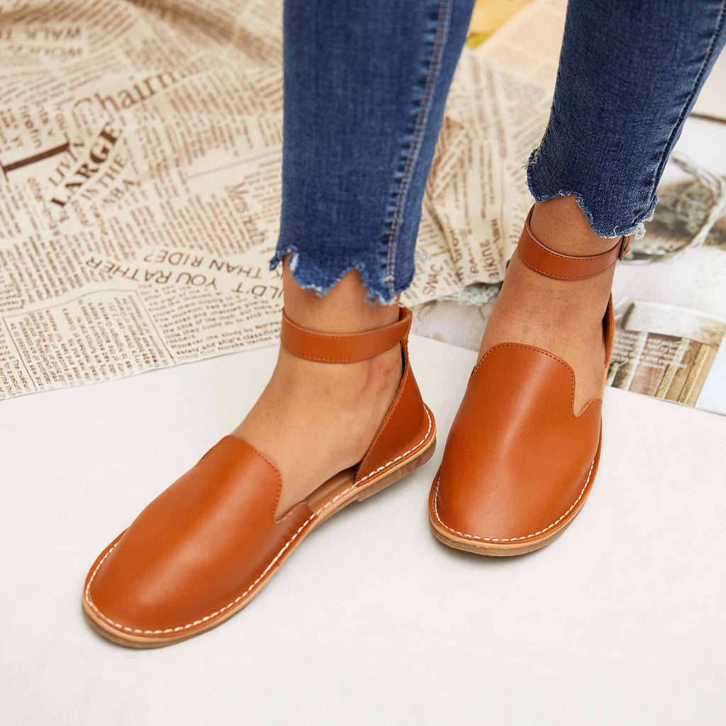 Micasahi Women Casual Slip On Ankle Buckle Flats (Ship in 24 hours)