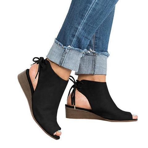 Micasahi Cropped Wedge Open Toe Low Heel Sandals