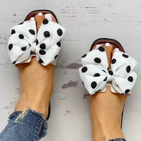 Micasahi Bowknot Design Open Toe Slippers