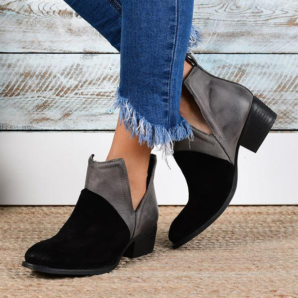 Micasahi Faux Leather Two-Toned Booties