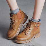 Micasahi Daily Low Heel Comfy Round Toe Lace Up Martin Boots