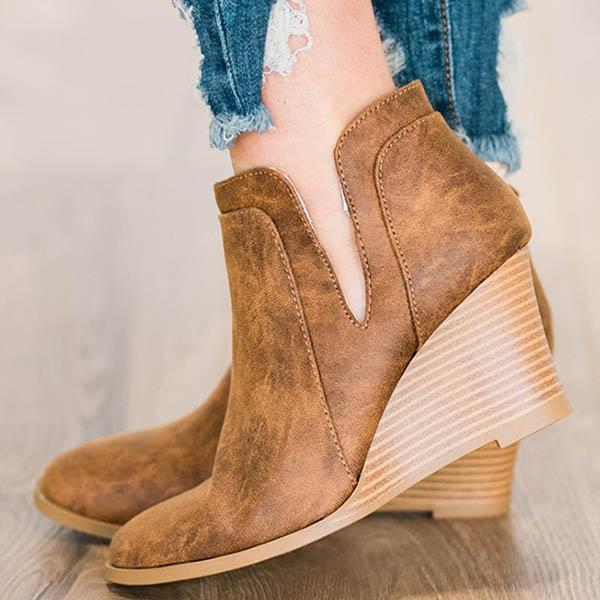 Micasahi Solid Zipper Pu Wedge Heel Round Toe Ankle Boots