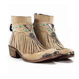 Micasahi Fashion Tassle Point Toe Chunky Heel Boots