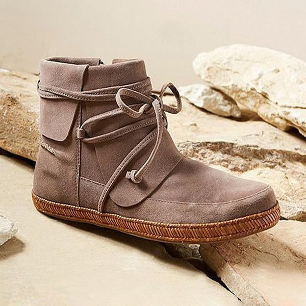 Micasahi  Vintage Lace-Up suede Ankle Boots