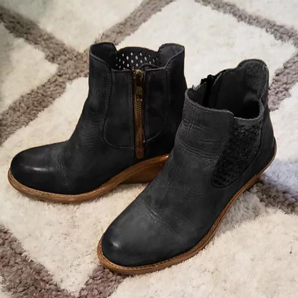 Micasahi Stylish Fall Middle Heel Hollow-Carved Women Boots
