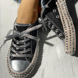 Micasahi Leopard Rivet Embellished Lace-Up Sneakers