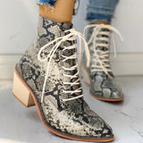 Micasahi Pointed Toe Lace-up Snakeskin Chunky Heeled Boots
