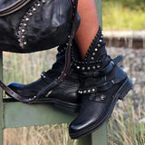 Micasahi Artificial Leather Buckle Rivet Women's Ankle Boots