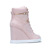 Micasahi Adjustable Front Laces Shoes Zipper Wedge Sneakers