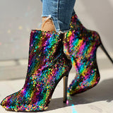 Micasahi Colorful Sequins Design Thin Heels Boots