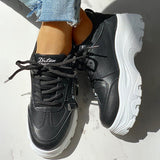 Micasahi PU Platform Lace-Up Casual Sneakers