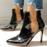 Micasahi Solid Patchwork See Through Thin Heels Boots