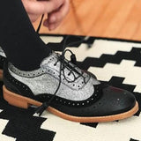 Micasahi Color Block Laser Cut Lace-Up Boots