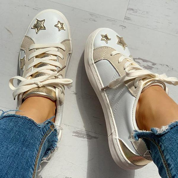 Micasahi Star Design Casual Lace-Up Sneakers