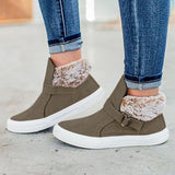 Micasahi Buckle Strap Fur Lined Casual Warm Sneakers