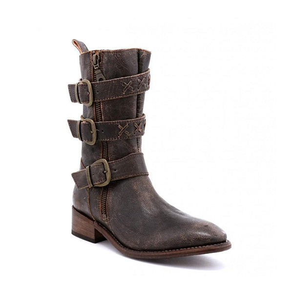 Micasahi Casual Daily Adjustable Buckle Low Heel Boots