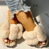 Micasahi Women Fashion Fluffy Casual Flat Slippers
