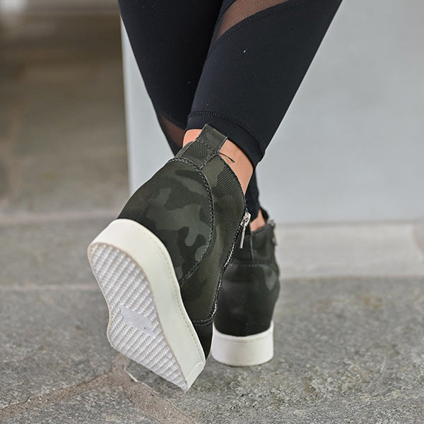 Micasahi Casual Camouflage Zipper Wedge Sneakers
