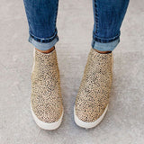 Micasahi Daily Leopard Slip On Wedge Sneakers