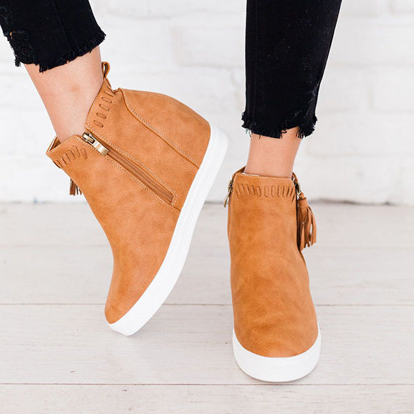 Micasahi Taylor Faux Leather Wedeg Sneakers