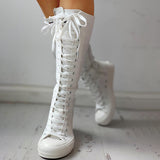 Micasahi Canvas Side Zipped Lace-Up Boots
