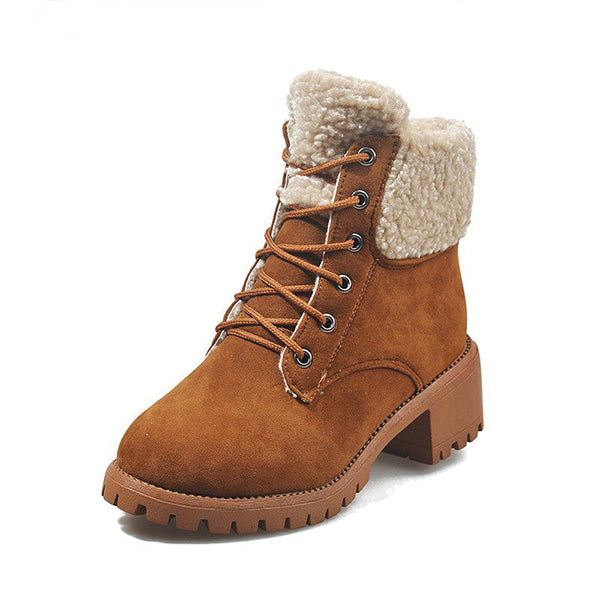 Micasahi Women's Winter Casual Daily Lace Up Low Heel Boots
