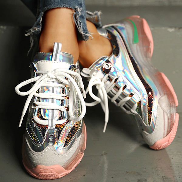 Micasahi Glitter Colorblock Breathable Lace-up Sneakers