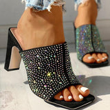 Micasahi Glitter Hot Stamping Open Toe Slingback Chunky Heeled Sandals