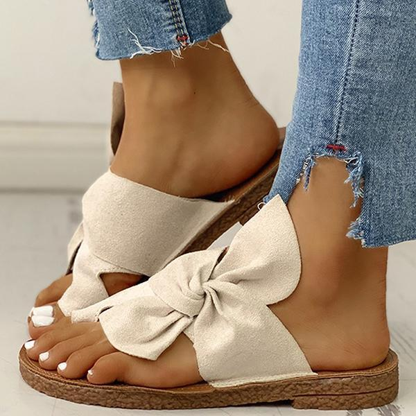 Micasahi Bowknot Toe Ring Non-slip Slippers