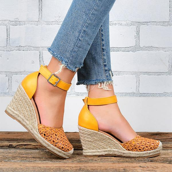 Micasahi Darling Woven Espadrille Wedge Sandals